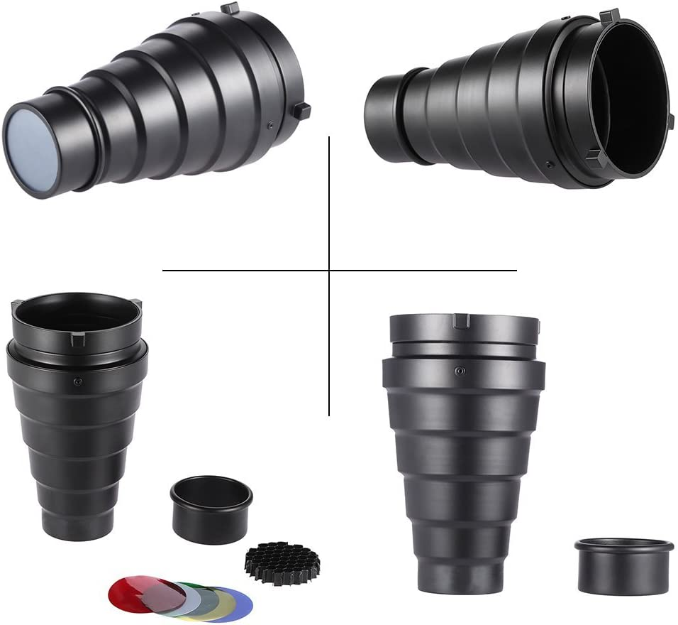 AkoMatial Carbon Fiber Conical Honeycomb Flash Snoot Grid Light Beam Tube Tool for Portrait Photography