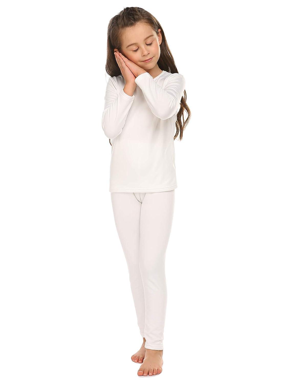 Bricnat Set di Biancheria Intima Termica Traspirante per Bambini Set Caldo Girocollo Pigiama Set Camicia + Pantaloni