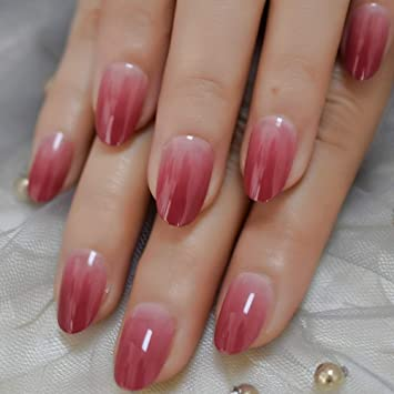 LightCoral Ombre Artificial False Nails Sleek UV Gel Acrylic Nail Oval  Medium Color Tips with Gluetabs 24pcs