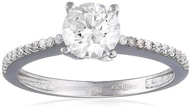 Citerna Women's 9 ct White Gold V Prong Set Cubic Zirconia Engagement Ring v38lyViAN