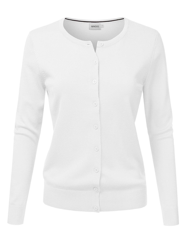 NINEXIS Womens Basic Crew Neck Long Sleeve Button Down Cardigan WHITE M