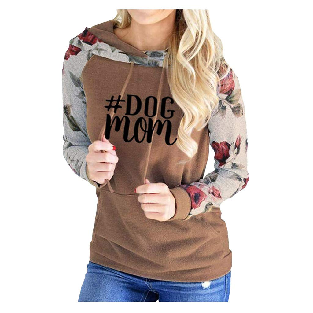 SHUSUEN Sweatshirt Floral Long Sleeve Drawstring Casual Hoodies Pullover Tops with Pockets Brown by SHUSUEN