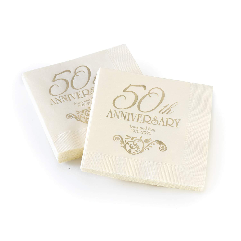 2450pk 50th Anniversary - Napkin - Personalized-Personalized Napkins