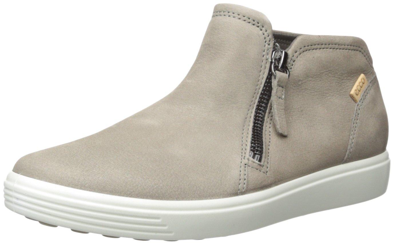 ECCO Women's Women's Soft 7 Low Cut Zip Fashion Sneaker, Warm Grey/Powder, 38 EU/7-7.5 US