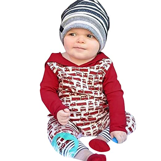 d55694604 Amazon.com: Newborn Infant Baby Boy Girl Xmas Car Pattern Hooded Romper  Jumpsuit Christmas Clothes Outfits Set: Clothing