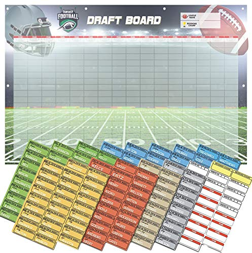 Amehla Fantasy Football Draft Board 2019 Kit - Heavy Duty 3-Feet x 5-Feet Vinyl Banner Fantasy Draft Board with Reinforced Grommets and Color Coded Player Labels - by Position - for All Size Leagues