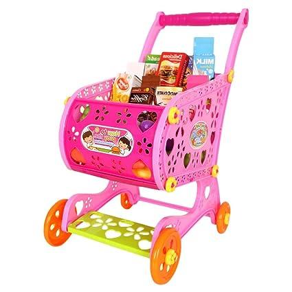 TRULIL Carrito de Compra Infantil Supermercado de Juguetes con Frutas Vegetales y Alimentos Falsos Juguete de