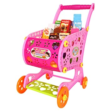 TRULIL Carrito de Compra Infantil Supermercado de Juguetes con Frutas Vegetales y Alimentos Falsos Juguete de Cocina en Carrito de Compras con Accesorios ...
