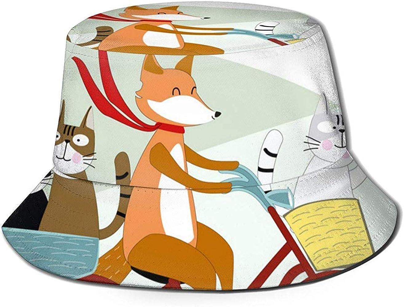 Bicicleta Fox Ride con Gato Cartoon_1317 Sombrero Unisex de algodón Lavado Sombrero de Gorra de Verano al Aire Libre: Amazon.es: Ropa y accesorios