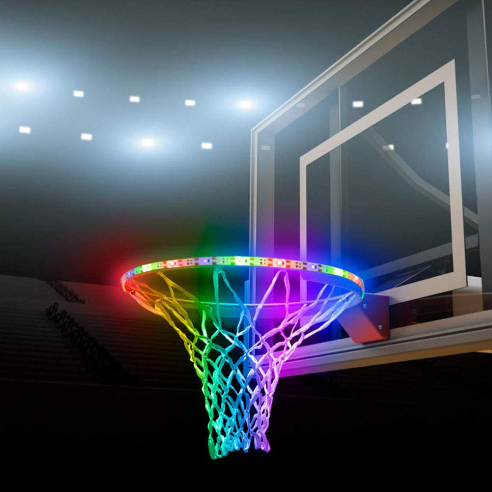 LED Basketball Hoop Lights,Solar Basketball Rim LED Light Sensor-Activated ,Score encouraged,Basketball Net Accessories Ideal for Kids Adults Parties and Training for Playing at Night Outdoors