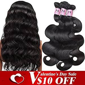 "JVH 100% Brazilian Body Wave Virgin Hair 3 Bundles Human Hair Extensions (18"" 20"" 22"")"