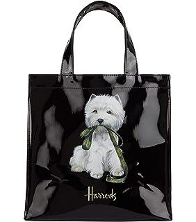 3c766b6acf harrods Westie Puppy Small Shopper Bag - Borsa a mano nera in PVC -  chiusura con