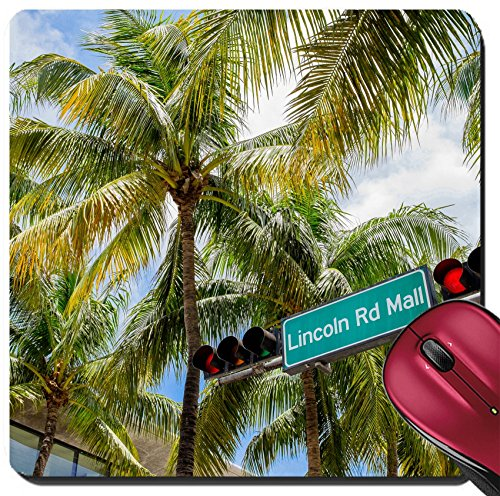 Liili Suqare Mousepad 8x8 Inch Mouse Pads/Mat Lincoln Road Mall street sign located in Miami Beach - Lincoln Miami Mall Beach