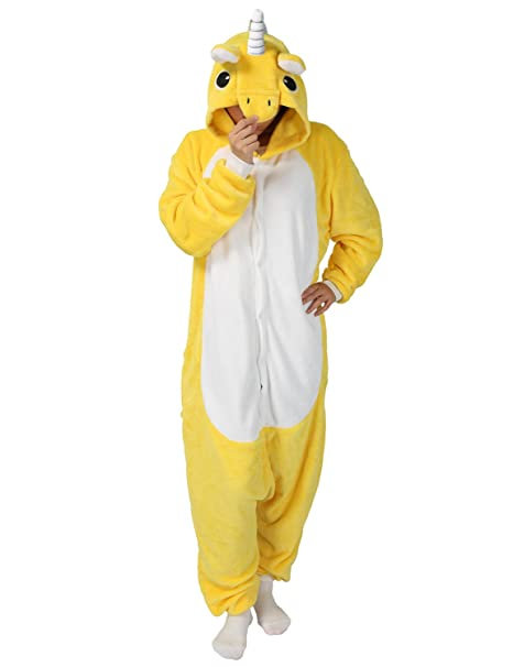 Disfraz tipo pijama para adulto con diseño de unicornio de Cosplay amarillo XL: Amazon.es: Ropa y accesorios