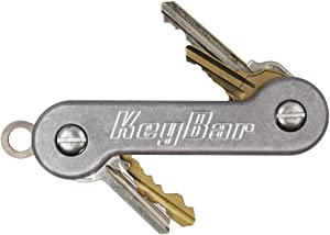 KeyBar | Everyday Carry Compact Key Holder Multi-Tool and Keychain Organizer with Pocket Clip (Holds up to 12 Key) Stonewashed Aluminum