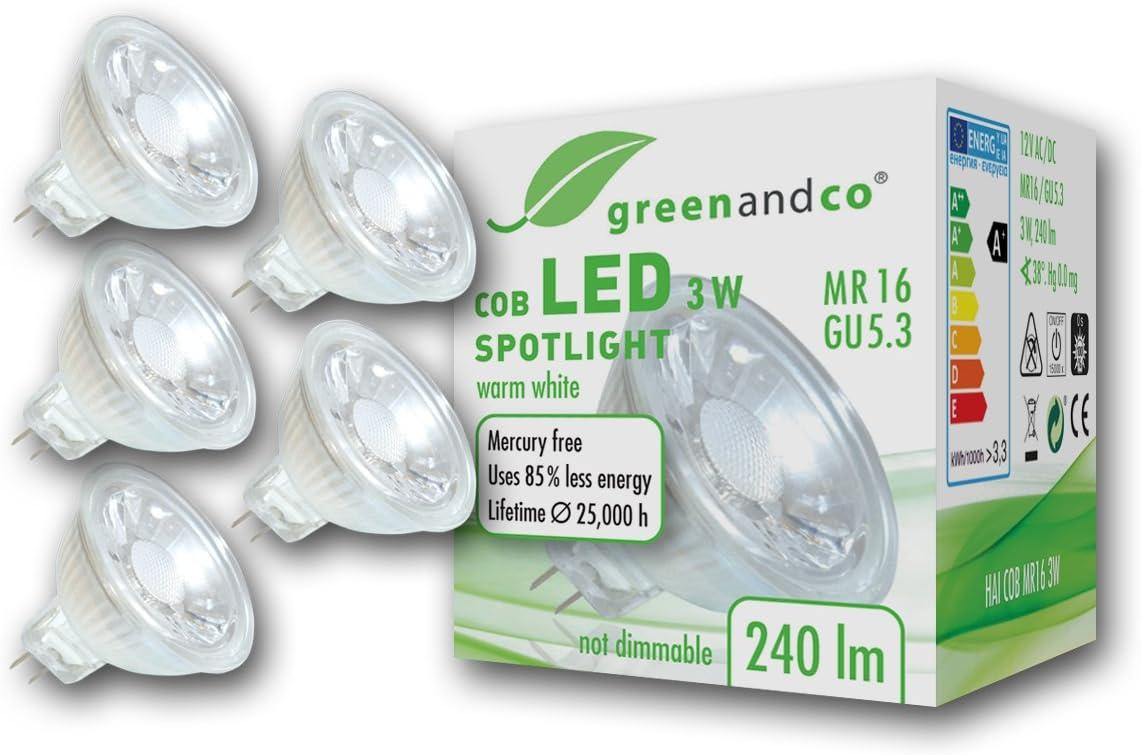 5 unidades de spots LED greenandco® MR16 GU5.3 3W (corresponde a 25W) 240lm 2700K (blanco cálido) COB LED 38° 12V AC/DC
