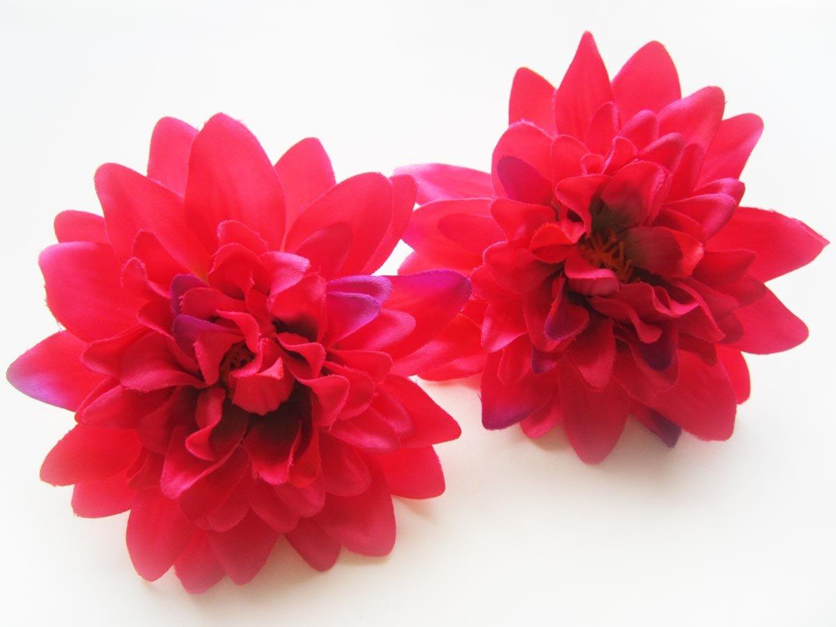Amazon 4 Hot Pink Silk Dahlia Flower Heads 4 Artificial