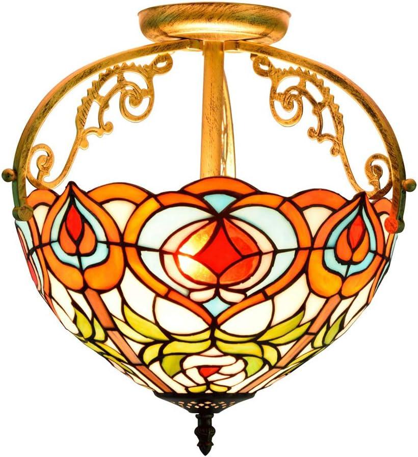 SMWZFDD Retro Techo de Cristal Claro, 30CM Europea Retro Xiantao vitral de Tiffany Pasaje Dormitorio luz de Techo de Cristal Pasillo Comedor Baño