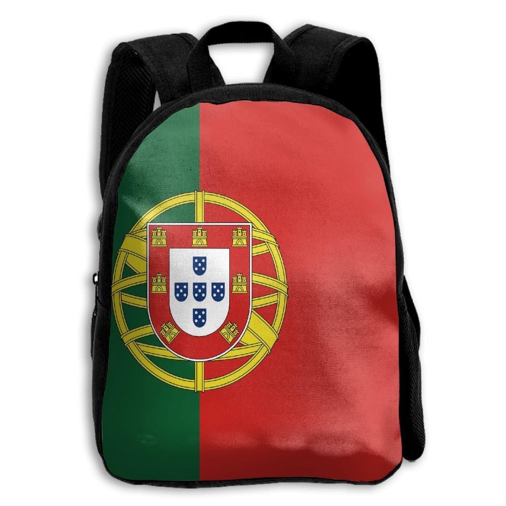 fidaljf美しいポルトガルフラグ子供の3dプリントファスナー付き旅行バッグ学校バックパック   B07DN8FRS5