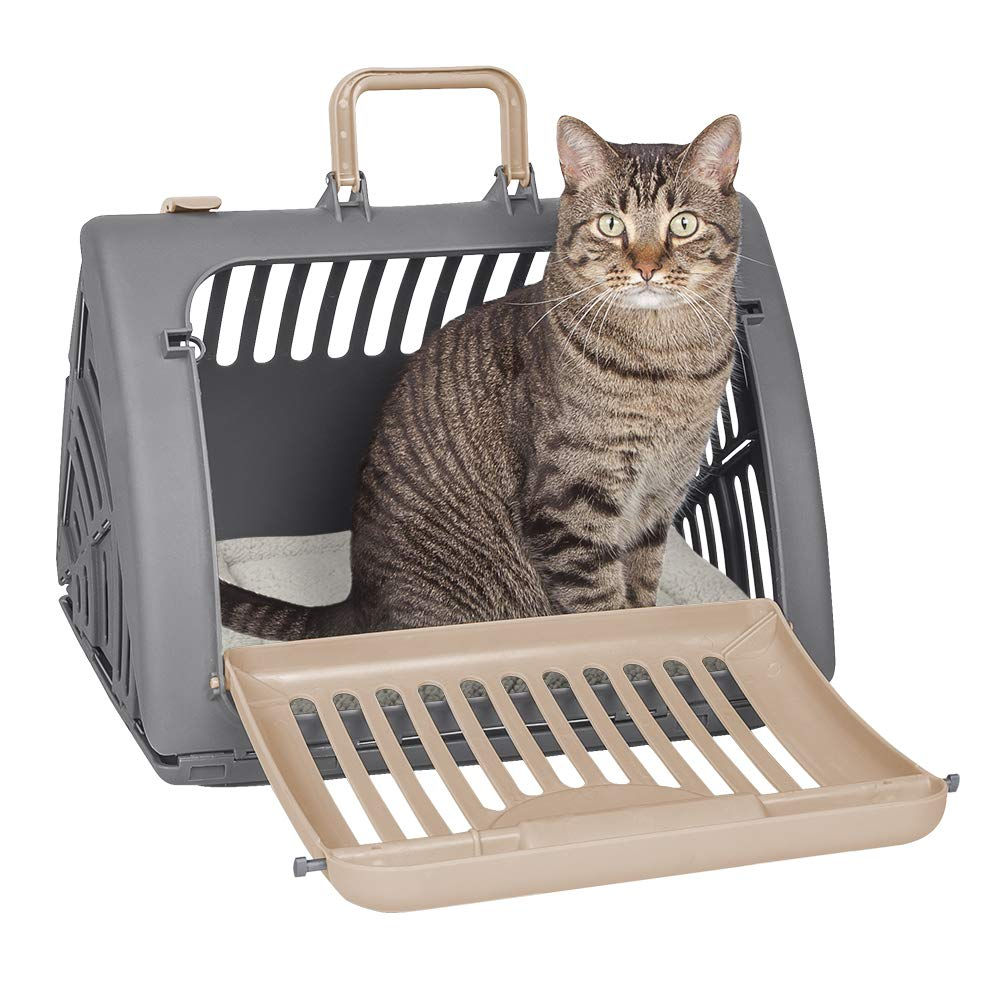 SportPet Designs Foldable Travel Cat Carrier with A Bed - Front Door Plastic Collapsible Carrier by SportPet Designs
