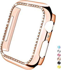 Mastten 38mm Case Cover Compatible with Apple Watch, Bling Diamond Bordered Protector Compatible with Series 3 2 1, Rose Gold