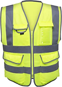 Neiko 53994A High Visibility Safety Vest with 7 Pockets and Zipper, Neon Yellow   Size L