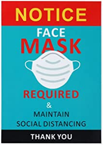 10 Pcs Pack Face Mask Required Sign Wear Mask Sign Please Wear Mask Sign Apply to Business Class Room Office and Public Safety. 10 Inch7 Inch Stickers Easy to Install and Works On Window Door.