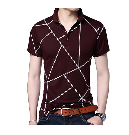 Sommer-Männer gestreiften Kurzarm-T-Shirt Revers Mode Casual Hemd mit  kurzen Ärmeln 7e8192918f