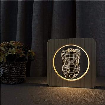 Xzfddn Zahn Design Holz Lampe 3d Usb Led Tisch Lichtschalter Steuer