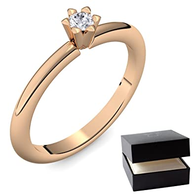 Diamantring rosegold  Solitär Ring Solitaire Rosegold Ring Diamant 585 + inkl. Luxusetui ...