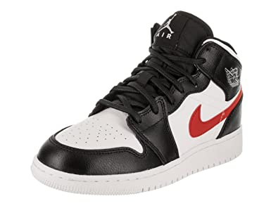 pretty nice 2826d 7f2bf Amazon.com | Nike Jordan Youth 1 Mid Bg Leather Black White ...