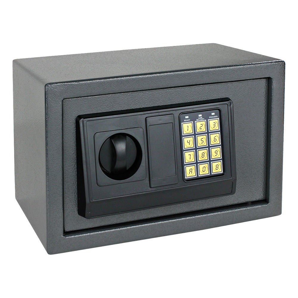 NEW Digital Electronic Safe Box Keyless Security Lock Home Office Hotel Gun Cash (Gray)