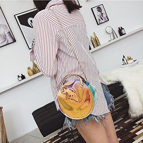 rond Flada sacs sac en sac bracelet bandoulière à bleu métal à à main bandoulière avec laser Noir Clear clair Fashion BFrqw81B