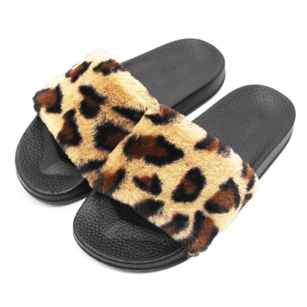 Toamen Zapatos Zapatillas Para Mujer Deslizadores Deslizadores Leopardo Esponjoso Piel de Leopardo Sandalia