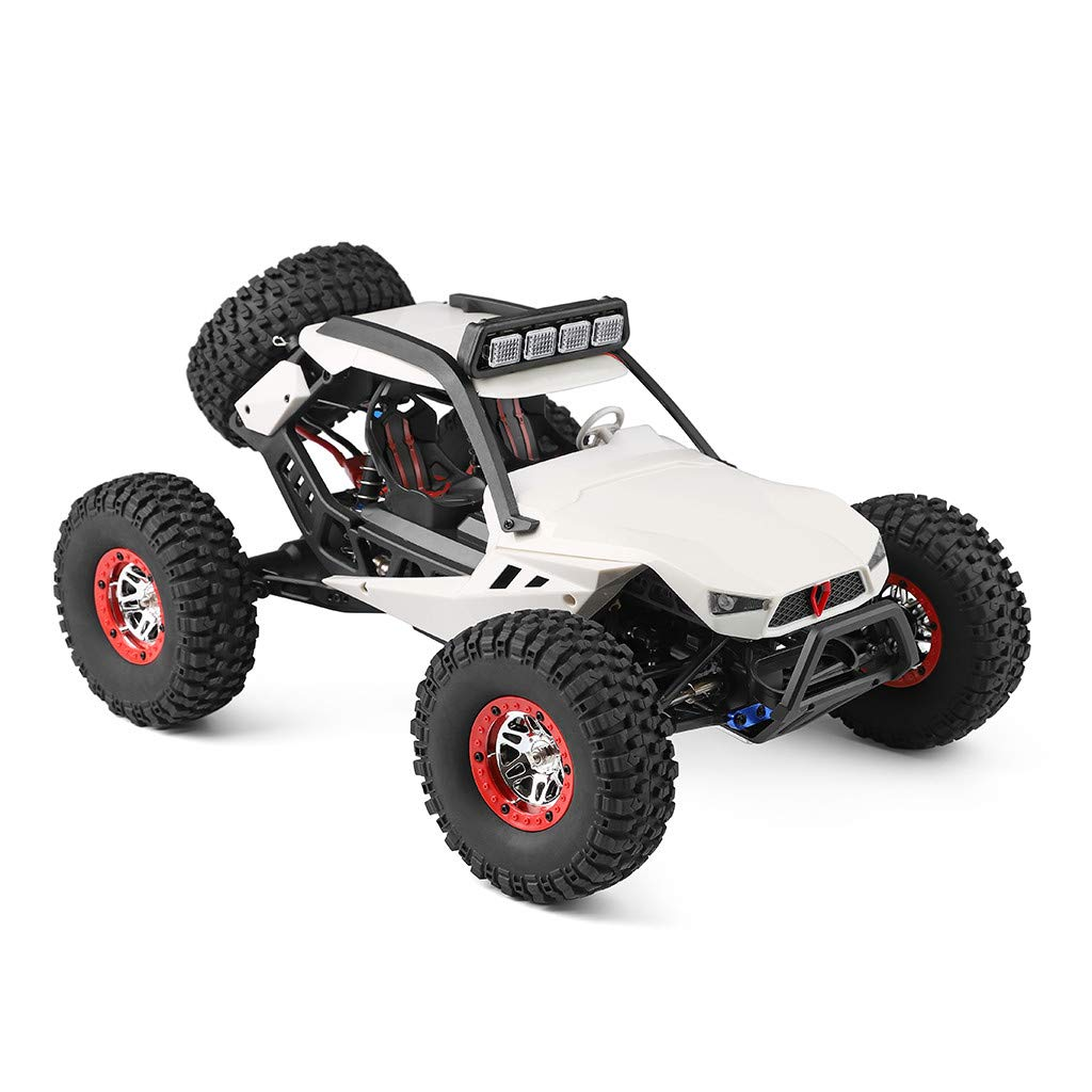 Auvem RC Electric Car, 1:12 Crawler 4WD 2.4G Electric Car with LED Lights RC Off-Road Radio Remote Control Truck, High Speed Racing Monster Truck Hobby Rock Crawler Toy (White)