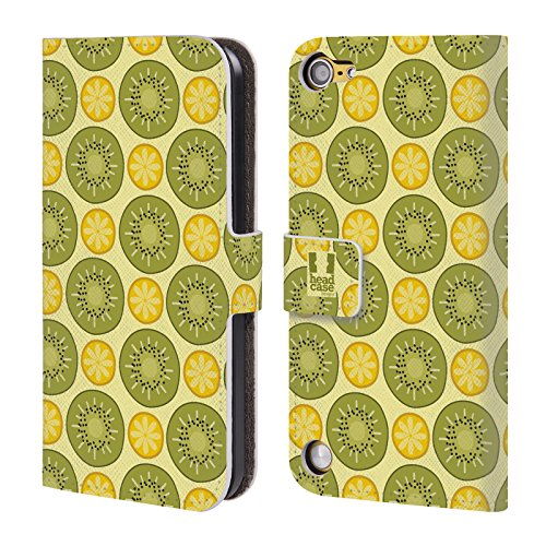 Head Case Designs Citrus E Kiwi Pattern Fruttosi Cover a portafoglio in pelle per iPod Touch 5th Gen / 6th Gen