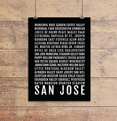 (San Jose Print - Neighborhoods - Subway Sign Poster, Wall Art, Décor, Canvas, Word Map, Gift, Bus Scroll, Typography, Minimal, Custom, Personalized)