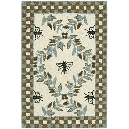 Safavieh Chelsea Collection HK55G Hand-Hooked Ivory and Blue Premium Wool Area Rug (1'8