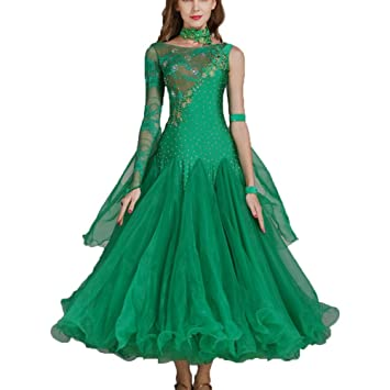 7e13e5bcd Rongg Ballroom Dance Dress For Women Performance Suit Lace Stitching Large  Swing Modern Dance Competition Dresses