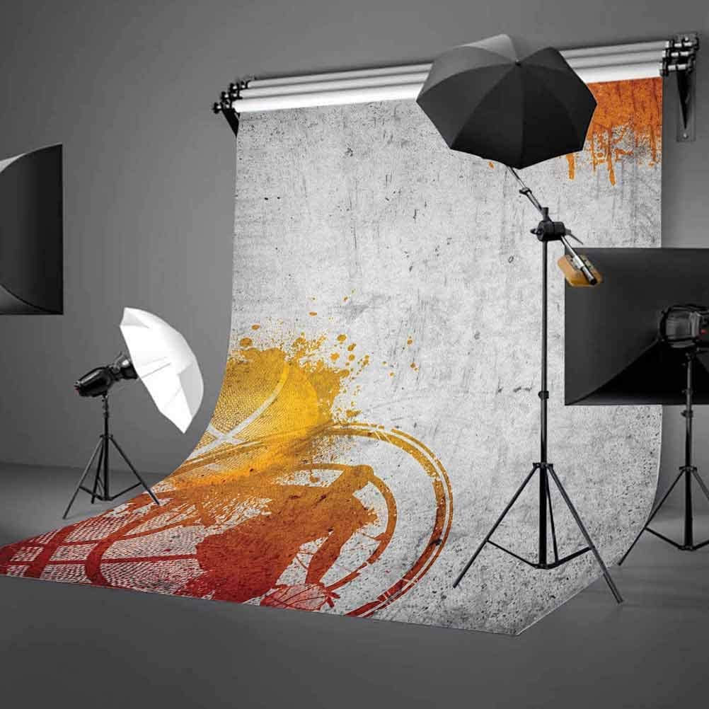 7x10 FT Basketball Vinyl Photography Background Backdrops,Basketball Streetball and Paint Stains Image on Concrete Wall Rustic Print Background Newborn Baby Portrait Photo Studio Photobooth Props