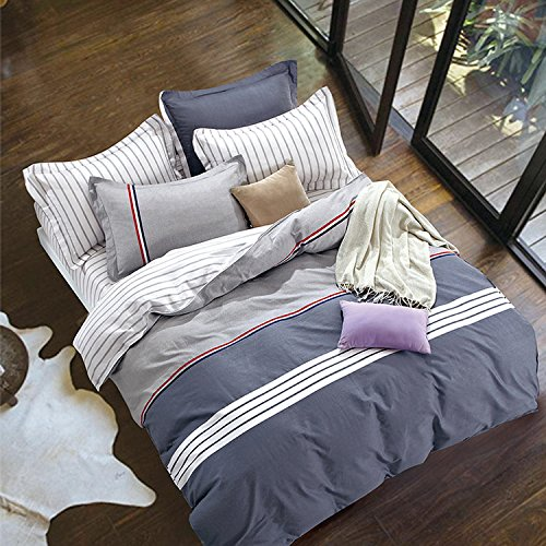 Mumgo Home Textile Bedding Set for Adult Kids,Basic Design Duvet Cover Set with Zipper Closure,Full/Queen 4 Piece Set,Not Include Any Comforter by WarmGo