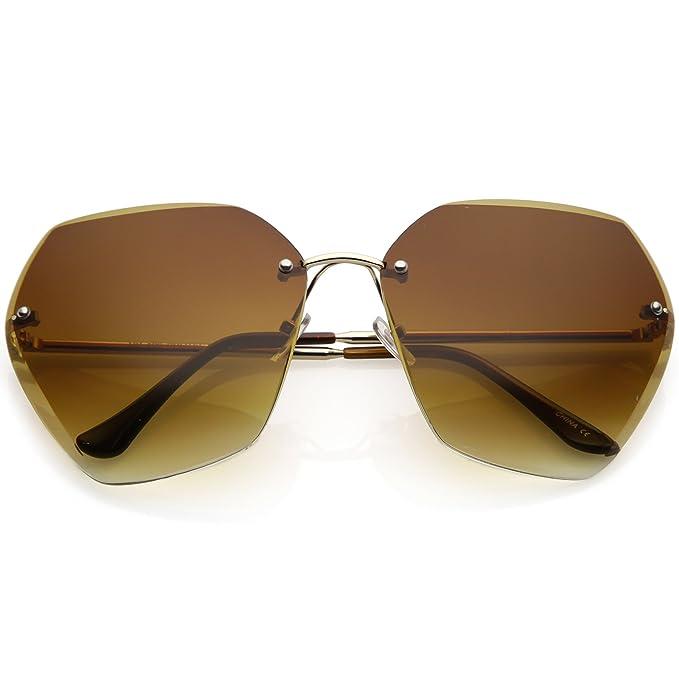 6b9c4c50f9 sunglassLA - Oversize Rimless Geometric Sunglasses Beveled Gradient Lens  70mm (Gold Amber)