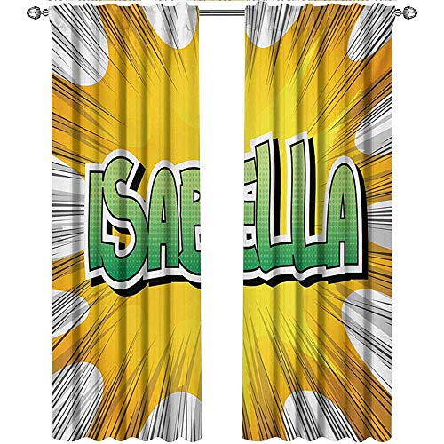 shenglv Isabella, Window Treatments Curtains Valance, American Birth Name on Retro Style Fun Cartoon Backdrop Poster Design, Curtains for Bathroom, W108 x L108 Inch, Yellow Green and White ()