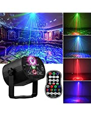 Fegishilly DJ Disco Stage Party Lights, LED Sound Activated Laser Light RGB Flash Strobe Projector with Remote Control for Christmas Decorations Karaoke Pub KTV Dance Gift Birthday Wedding