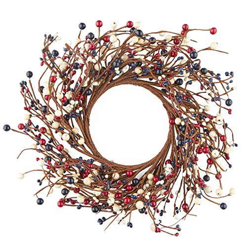 14 Inch Americana Mixed Berry Wreath for Indoor