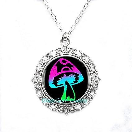 mushroom Glass Locket Pendant mushroom Locket Necklace mushroom jewelry photo Locket Pendant art Locket Pendant photo jewelry art jewelry glass jewelry glass bezel,Q0260