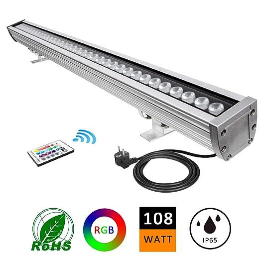 LED Foco Exterior, ATCD 108W RGBW Luz de Pared de Lavado con Control Remoto RF, Color de Cambiable para Iluminación de Exterior/Interior, Hoteles, ...