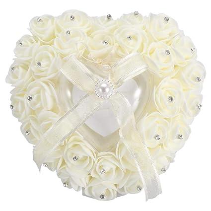 01d2d95208 Romantic Heart-shaped Wedding Ring Box Rose Rhinestone Decor Ring Pillow  Cushion for Ring Case Ring Bearer(Beige): Amazon.co.uk: Kitchen & Home