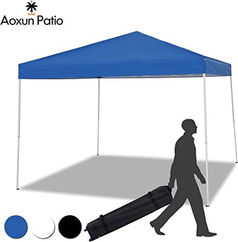 Aoxun Patio 10 x 10 Pop Up Canopy Tent Instant Outdoor Canopy Easy Set-up Straight Leg Folding Shelterwith Duty Roller Bag Blue