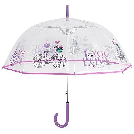Paraguas antiviento, transparente, de mujer – Paraguas de cúpula transparente Perletti – Estampado colorido